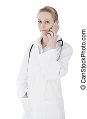 Close up Smiling Female Physician Calling on Phone