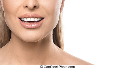 Close up smiling woman portrait on white background. Teeth care and teeth whitening concept.
