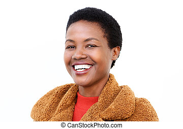 Close up smiling young african american woman against isolated white background