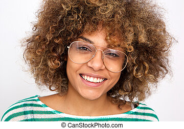 Close up smiling young african american woman with glasses