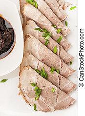 close-up, snack, saus, vlees, stukken
