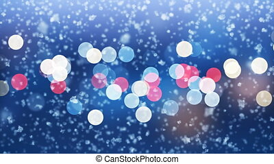 Close-up Snowflakes Falling Slow with Evening City Lights Blinking Seamless. Slow-Motion Looped 3d Animation. Holidays Celebration Concept. 4k Ultra HD 3840x2160