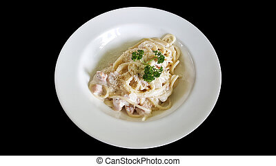 close-up spaghetti carbonara bacon with clipping part isolated on black background