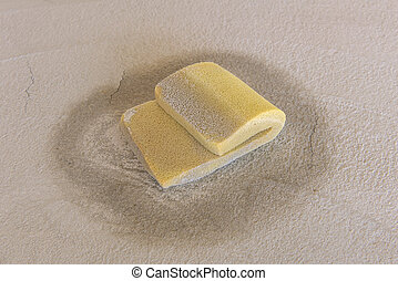 close up sponge construction tools for plastering walls with cement