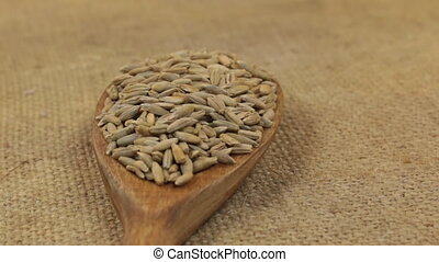Close-up, spoon rotation with a pile of rye grains lying on...