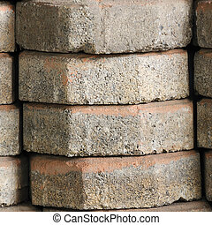 Close up stack of octagonal bricks