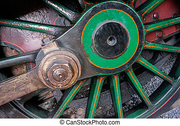 Close-up steam train wheel at Sheffield Park Station East Sussex