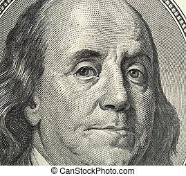 close up of 100 dollars banknote