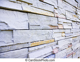 Close up stone wall in perspective view