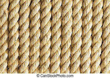 Close up strands of rope as background