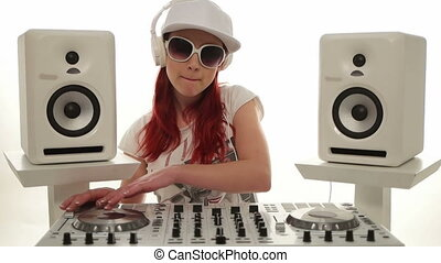 Female Disc Jockey Mixing Music - Close up Stylish Pretty...