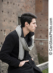 Close up Stylish Young Handsome Man Outside Old Building