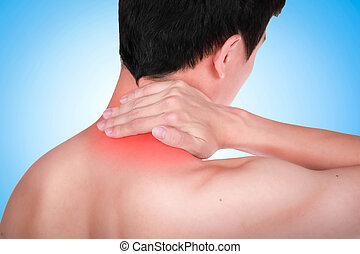 Close up suffering male pain in neck on blue background.
