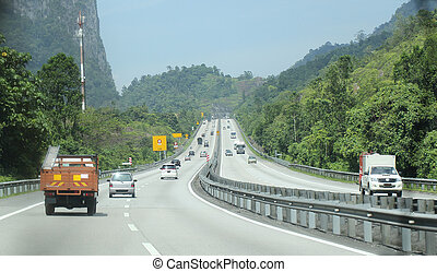 Close up Super high way in middle of mountain in Malaysia