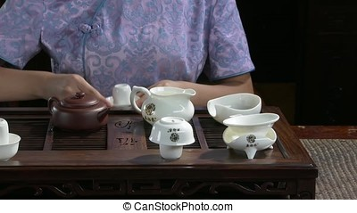 Close-up table for the tea ceremony utensils and bamboo....