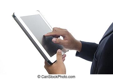 close-up, tablet, handen, aandoenlijk, vrouwlijk, digitale