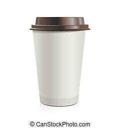 Close up take-out coffee with brown cap. Isolated on white...