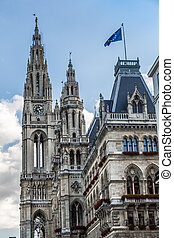 Close up Tall gothic building of Vienna city hall, Austria -...