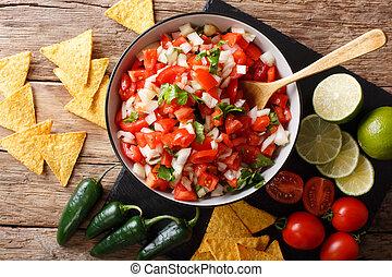 close-up, temperado, topo, de, tigela, pico, caseiro, horizontais, nachos., gallo, vista