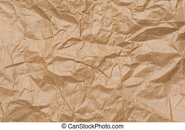 Close up texture of brown crumpled paper bag