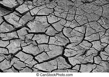 close up texture of cracked soil, during drought season