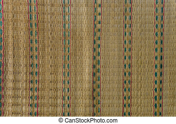 Close up texture of native thai style weave sedge mat background , made from papyrus