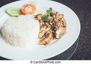 Thai food pork fried with garlic