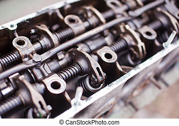Close-up the head of a six-cylinder engine