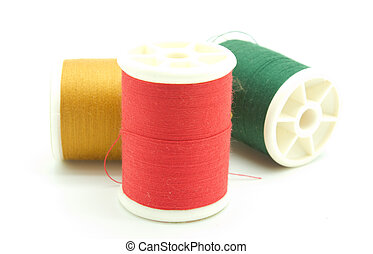 Close up threads on white background