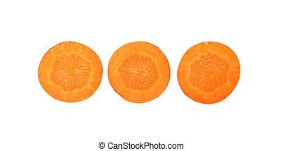 Background of backlit carrot slices.