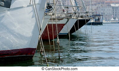close-up timelapse of boats and yachts moored in the vieux...