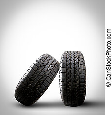 Close up tire with space for texts display