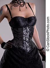close-up, tiro, de, bonito, mulher jovem, em, prata, colete