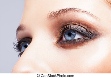 close-up, tiro, de, femininas, olhos, maquiagem