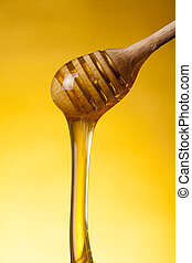 close-up, tiro, de, madeira, drizzler, e, fluir, mel