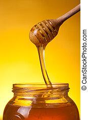close-up, tiro, de, madeira, mergulhador, com, fluir, mel
