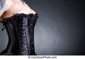 close-up, tiro, de, mulher, em, pretas, colete