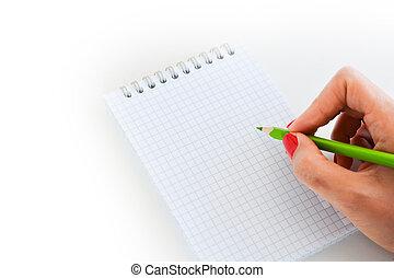 close-up, tiro, de, mulher, mão, preparado, escrever, ligado, um, em branco, caderno