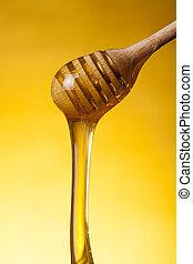 close-up, tiro, madeira, mel, drizzler, fluir