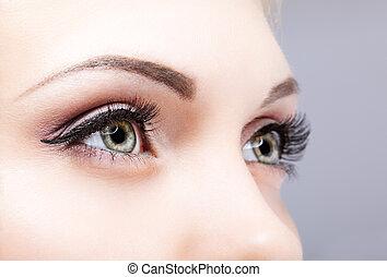 close-up, tiro, olhos, femininas