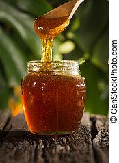 close-up, tiro, sobre, mel, experiência verde, fluir