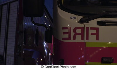 Close up to a fire truck - A close up steady shot of fire...