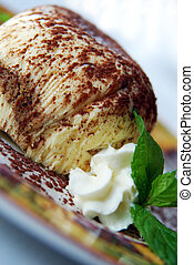 Tiramisu - Close-up to Italian Tiramisu Dessert