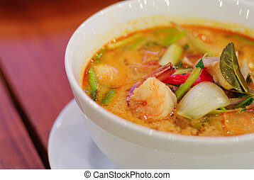 Close up Tom Yum soup Thai traditional spicy prawn soup