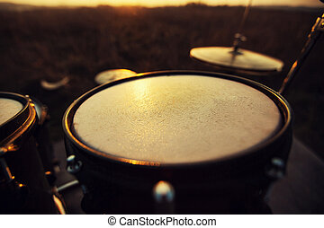 Close up Toms on a drum set