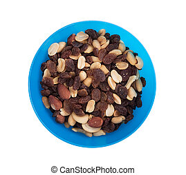 Close-up top view mix different of nuts and dried fruits...