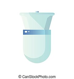 Close-up top view of white ceramic toilet with bowl and closed toilet lid isolated on white background.