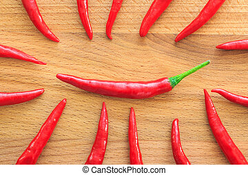 Close-up top view red chili pepper on wood background