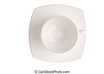 Close up top view set of porcelain white crockery for coffee isolated on white background. Healthy food concept.