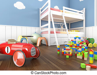 Children´s room in blue walls with litter and lots of toys on the foreground